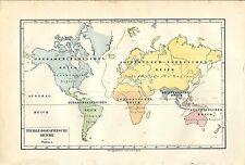 Carta geografica antica PLANISFERO REGNI ANIMALI 1891 Old antique map