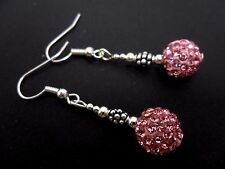 A PAIR OF DANGLY PINK SHAMBALLA STYLE EARRINGS. NEW.
