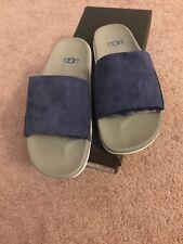 Men's Ugg Australia Xavier 8 Blue Sheep Fur Slipper Sandals New In Box Slides