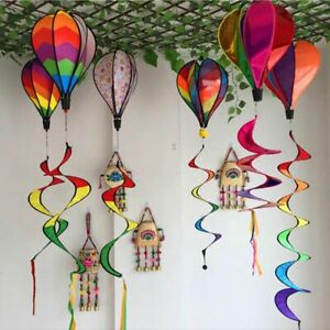 Windsock Striped Hot Air Balloon Wind Spinner Yard Garden Decor Stakes Outdoor