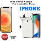 Coque de protection Iphone + Verre Trempé iPhone 11 12 13 Pro MAX XR 6/7/8 SE <br/> Vitre protection verre protection/coque pour iphone 13