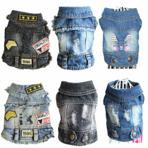 Classic Small Dogs Denim Jacket Vest Soft Denim Puppy Cat Jeans Coat Pet Clothes