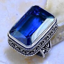 LARGE BLUE TOPAZ ANTIQUE DESIGN STERLING SILVER PLATED STATEMENT RING SIZE 7.5