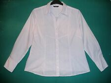 Ladies Size 18 White/Pink Striped Long Sleeved Shirt by Papaya