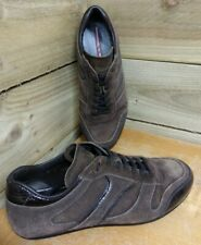 PRADA Brown Suede Leather Lace Up Low Top Sports Sneakers UK 7.5 * RRP £450 *