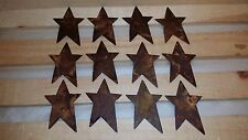 """12 Rusty Tin 3"""" Flat Stars, Primitive, Craft Supplies, Star, Whimsical, Rusted"""