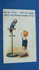 WW1 Doug Tempest Comic Postcard 1914 1918 Anti Kaiser Blue Pet Talking Parrot