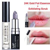 2Pcs Exfoliating Scrub+24K Gold Foil Moisturizing Lip Care Lip Balm Lips Serum t
