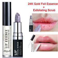 2Pcs Exfoliating Scrub+24K Gold Foil Moisturizing Lip Care Lip Balm Lips Serum..