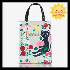 Harrods London PVC Reusable Shopping Bag Eco Tote Shopper Waterproof floral cat