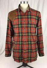 Ralph Lauren Polo Flannel Shirt Hunting Suede Patch Plaid Mens Medium