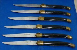 Set of 6 Jean Dubost Laguiole de Table Steak Knives with Black Handle