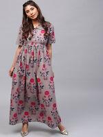 Indian Kurti Kurta Women Dress Floral Top Long Tunic Maxi Sundress Cotton Casual
