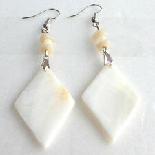 Earrings 3 inches 1.7inch Diamond Heart Uk Cream White Mother of Pearl Hook Drop