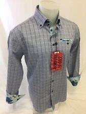 Mens INSOMNIA By MANZINI Button Down Dress Shirt AQUA PLAID CHECK Roar IN78 NWT