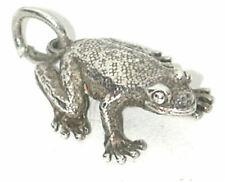 Charm Sterling Frog 3D vintage English Silver nice details Amphibian pendant