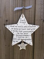 Handmade Personalised Plaque Sign Will You Be My Godfather Godparent Gift