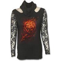 Spiral Burning Rose Lace Sleeve Cowl Neck Top Shirt M/L - Neu