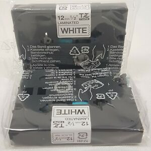 """Genuine Brother TZ-231 P-Touch Black on White  1/2"""" 12MM Label Maker Tape Lot X2"""