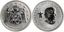 2009 Canada ThunderBird Maple Leaf $5 Dollar 1 oz Silver Vancouver Olympics Coin
