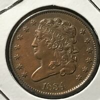 1834 BUST HALF CENT HIGH GRADE COIN