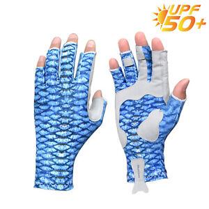 F Riverruns UPF 50+ Sun Protection Fingerless Fishing Gloves for Men and Women