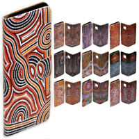 For Samsung Galaxy Series Aboriginal Art Print Wallet Mobile Phone Case Cover #1