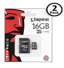 Lot of 2 Kingston 16GB MicroSD SDHC Class 4 Memory Flash Card SDC4/16GB
