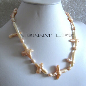 """20"""" 7-20mm Peach Pink Rice Cross Freshwater Pearl Necklace U"""