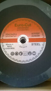 CUTTING DISCS 355mm X 2.8 X 25MM METAL CHOPSAW EURO CUT Pk OF 10/ DATE CODE 2023