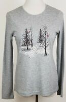 Christmas T Shirt Womens Size S Ugly Knit Top Long Sleeve Gray Winter Scene