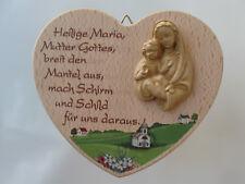 Holz Herz mit Maria mit Kind Haussegen mit Mariengebet Spruchtafel