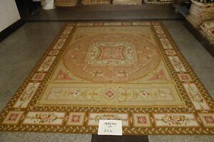 9'X12' Antique Coffee Royal Castel Decor French Rose Scroll Aubusson Wool Carpet