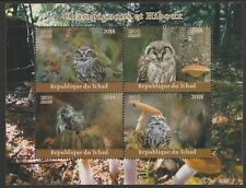 Chad 7652 - 2018 OWLS  & MUSHROOMS   perf sheet of 4 unmounted mint