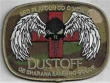US ARMY 3rd PLTN C/238TH PATCH- 'DUSTOFF'                 GOLD TINSEL/COLOR/DUTY