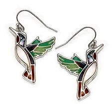 Hummingbird Fashionable Earrings - Fish Hook - Abalone Paua Shell