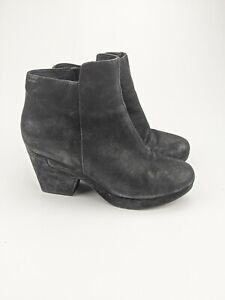 Eileen Fisher Black Suede Women's Key Booties Ankle Boot Side Zip Up Size 7