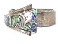 VTG J Gomez Sterling Silver Taxco Mexico Inlaid Abalone Hinged Cuff Bracelet 76g