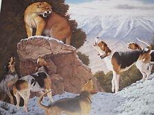 STAND OFF   BY TOM MANSANAREZ  MOUNTAIN LION HOUND  PRINT
