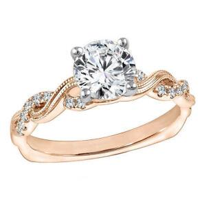 Moissanite Diamond Engagement Ring 1.35 Ct Round Cut 14K Rose Gold Size 5