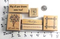 Wooden RUBBER STAMP Block Stamps Lot Get Well Dreams Greetings Thank You