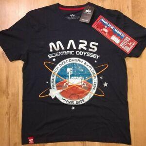 Alpha Industries Mens MARS MISSON NASA EXPLORE T-Shirt Size Large Navy RRP £45