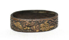 OLD JAPANESE TSUKA PART SINGLE FUCHI CARVED DRAGON WIND COPPER GOLD
