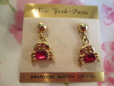 Fashion Earrings Tiny Crab Gold-tone Earrings Swarovski Austria Crystal Pierced