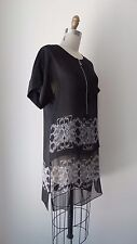 Thomas Wylde Black Silk Printed Short Sleeve Tunic Style Mini Dress Sz XS