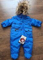 Canada Weathergear Boy 3-6M Blue Faux Fur Trim Hooded 1pc Snowsuit, MSRP $95