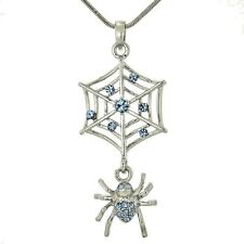 SPIDER Web Necklace Made With Swarovski Crystal Cobweb Blue Charm Luck Pendant