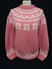 Fairisle Icelandic Sweater, Nordic Hand Knit Jumper, Small, Pink, 47cm Wide