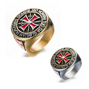 Templar Knights Stainless Steel Gold or Silver Ring Red Cross Iron Shield Swords
