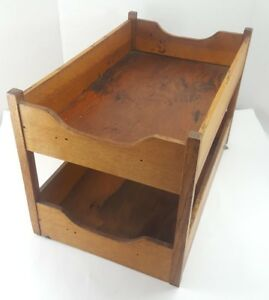 Vintage SOLID OAK TRAY ORGANIZER Handmade Arts and Crafts Files 2 Shelves